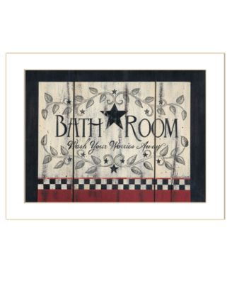 "Bathroom by Linda Spivey, Ready to hang Framed Print, White Frame, 18"" x 14"""