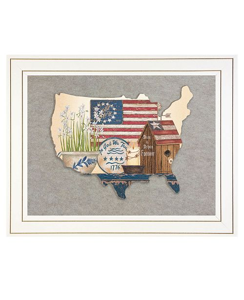 "Trendy Decor 4U Trendy Decor 4U Old Glory Still Life by Linda Spivey, Ready to hang 3D Framed Print, White Frame, 19"" x 15"""