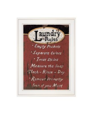 """Laundry Rules by Linda Spivey, Ready to hang Framed Print, White Frame, 15"""" x 19"""""""