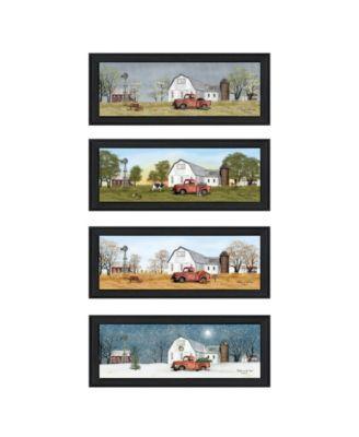 "Billy Jacobs Four Seasons Collection V 4-Piece Vignette, Black Frame, 27"" x 11"""