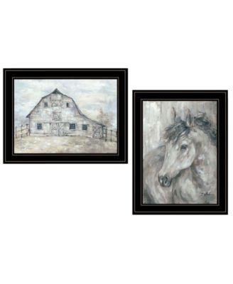 "True Spirit Horses 2-Piece Vignette by Debi Coules, Black Frame, 15"" x 19"""