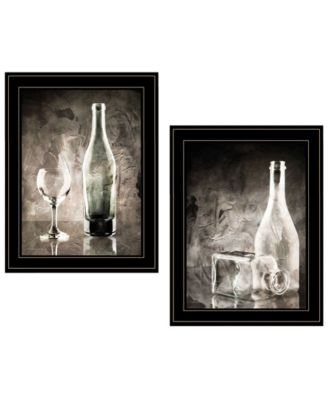 "Moody Gray Glassware Still Life 2-Piece Vignette by Bluebird Barn, Black Frame, 15"" x 19"""