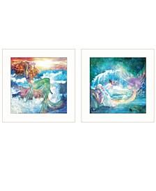 "Mermaids 2-Piece Vignette by Bluebird Barn, White Frame, 15"" x 15"""
