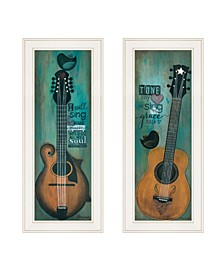 """Trendy Decor 4U Tune my Heart and I will Sing 2-Piece Vignette by Tonya Crawford, White Frame, 9"""" x 21"""""""