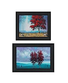 "Trendy Decor 4U Red Trees 2-Piece Vignette by Tim Gagnon, Black Frame, 21"" x 15"""