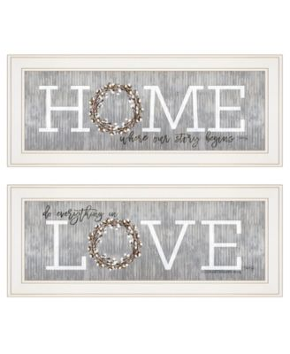 """Where Our Story Begins 2-Piece Vignette by Marla Rae, White Frame, 27"""" x 11"""""""