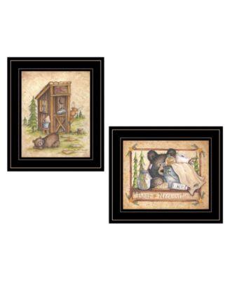 "Bear / Still Waiting 2-Piece Vignette by Mary Ann June, Black Frame, 13"" x 11"""