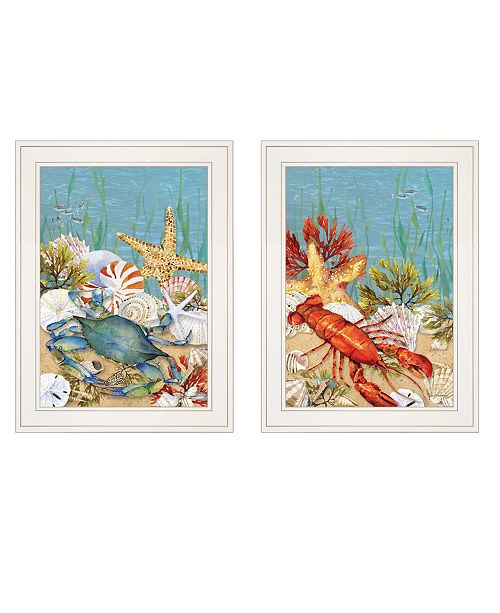 "Trendy Decor 4U Trendy Decor 4U Blue Crab / Lobster 2-Piece Vignette by Barb Tourtillotte, White Frame, 15"" x 21"""