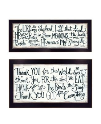 """Thank You Lord 2-Piece Vignette by Annie LaPoint, Black Frame, 20"""" x 11"""""""