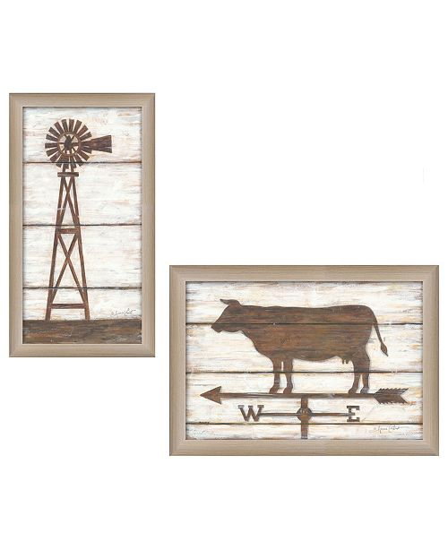 """Trendy Decor 4U Trendy Decor 4U Country Bath Shelf Collection By Annie LaPoint, Printed Wall Art, Ready to hang, Beige Frame, 32"""" x 21"""""""