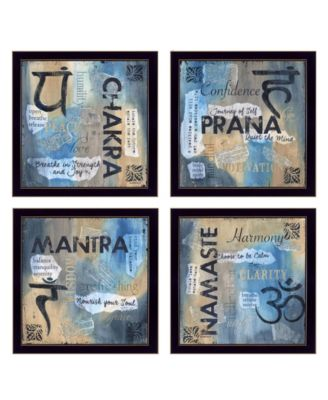 """Yoga Collection By Debbie DeWitt, Printed Wall Art, Ready to hang, Black Frame, 56"""" x 14"""""""