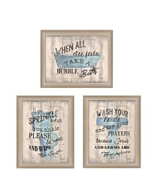 "Bathroom Humor Collection By Debbie DeWitt, Printed Wall Art, Ready to hang, Beige Frame, 45"" x 19"""