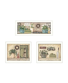 """Garden Bath Collection By Pam Britton, Printed Wall Art, Ready to hang, White Frame, 40"""" x 14"""""""