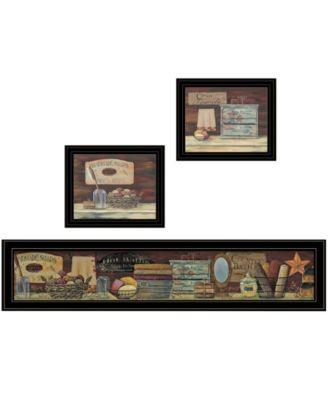 """COUNTRY BATH 1 3-Piece Vignette by Pam Britten, Black Frame, 39"""" x 14"""""""