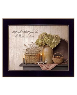 """Done in Love By SUSAn Boyer, Printed Wall Art, Ready to hang, Black Frame, 18"""" x 14"""""""