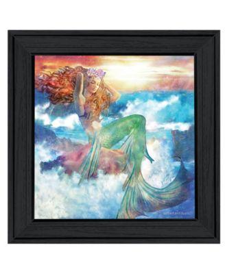 "Sunset Mermaid by Bluebird Barn, Ready to hang Framed Print, Black Frame, 15"" x 15"""