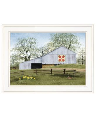 """Tulip Quilt Block Barn by Billy Jacobs, Ready to hang Framed Print, White Frame, 19"""" x 15"""""""