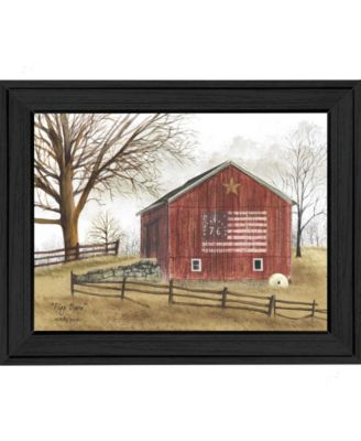 Flag Barn By Billy Jacobs, Printed Wall Art, Ready to hang, Black Frame, 15