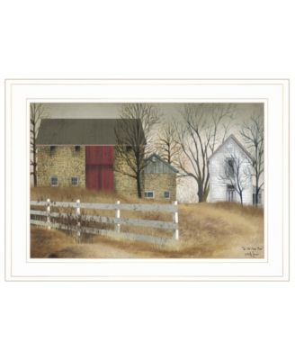 """The Old Stone Barn by Billy Jacobs, Ready to hang Framed Print, White Frame, 21"""" x 15"""""""