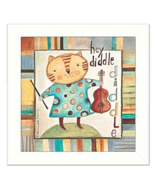 "Trendy Decor 4U Hey Diddle Diddle By Bernadette Deming, Printed Wall Art, Ready to hang, White Frame, 14"" x 14"""