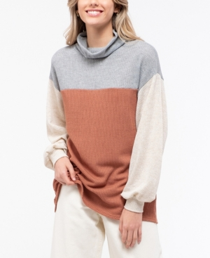 Blu Pepper Color Block Cowl Neck Knit Top