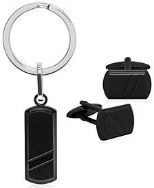 Sutton Stainless Steel Stripe Cufflinks and Key Ring Set