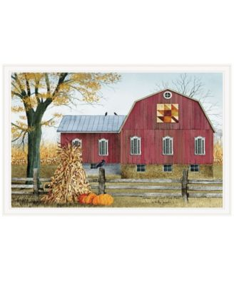 """Autumn Leaf Quilt Block Barn by Billy Jacobs, Ready to hang Framed Print, White Frame, 38"""" x 26"""""""