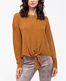Tie-Front Knit Sweater