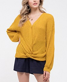 Twist-Front Knit Sweater