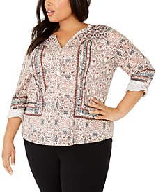 Plus Size Printed Button-Up Top, Created For Macy's