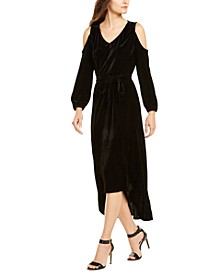 Petite Velvet Cold-Shoulder Tie-Waist Dress