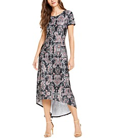 Petite Lace-Up-Sleeve High-Low Dress