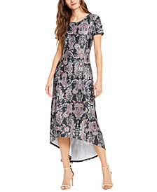 NY Collection Petite Lace-Up-Sleeve High-Low Dress