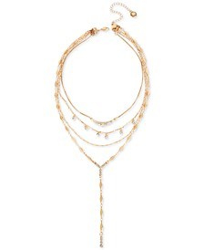"""Gold-Tone Crystal Multi-Chain Convertible Layered Lariat Necklace, 15"""" + 3"""" extender"""