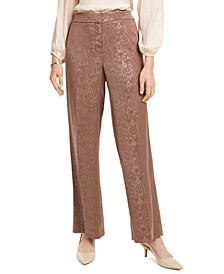 Petite Snake-Embossed Wide-Leg Pants, Created For Macy's
