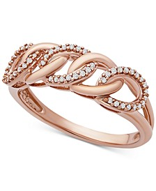 Diamond Chain Link Statement Ring (1/10 ct. t.w.) in 10k Rose Gold