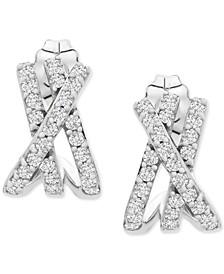 Diamond Crisscross Huggie Hoop Earrings (1/3 ct. t.w.) in 10k White Gold
