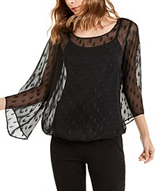 Petite Angel-Sleeve Bubble-Hem Top, Created For Macy's
