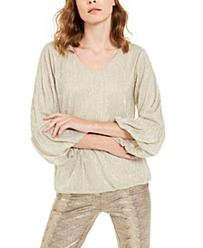 Petite Metallic Bubble Top, Created For Macy's