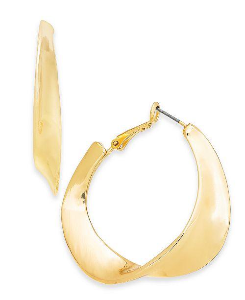 "Charter Club Gold-Tone Medium Sculptural Hoop Earrings, 1.75"", Created For Macy's"