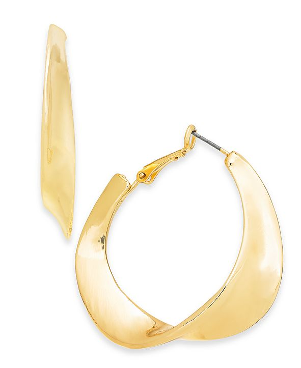 "Charter Club Gold-Tone Medium Sculptural Hoop Earrings, 1.75"", Created for Macy's"