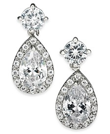 Silver-Tone Crystal Teardrop Earrings, Created For Macy's