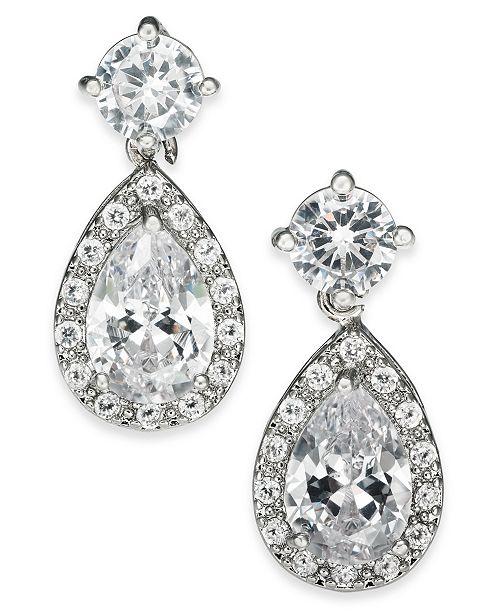 Charter Club Silver-Tone Crystal Teardrop Earrings, Created For Macy's