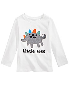 Baby Boys Little Boss Dinosaur-Print Cotton T-Shirt, Created For Macy's