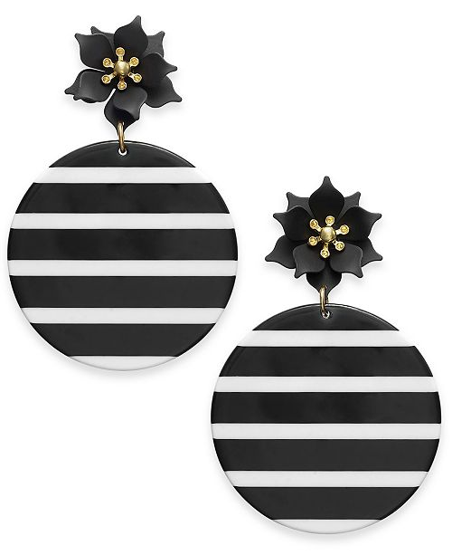 INC International Concepts INC Gold-Tone Flower & Striped Resin Disc Drop Earrings, Created For Macy's