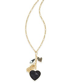 """INC Gold-Tone Stone Heart & Charms Pendant Necklace, 30"""" + 3"""" extender, Created For Macy's"""