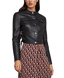 Pleated Cropped Faux-Leather Jacket