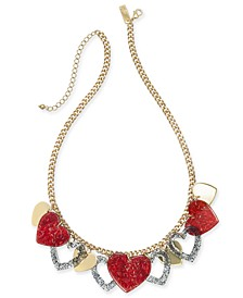 "INC Gold-Tone Resin Heart Dangle Statement Necklace, 17-1/2"" + 3"" extender, Created For Macy's"
