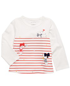 Baby Girls Long-Sleeve Striped Dogs T-Shirt, Created for Macy's