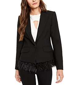 Rikka Feather-Trim Blazer
